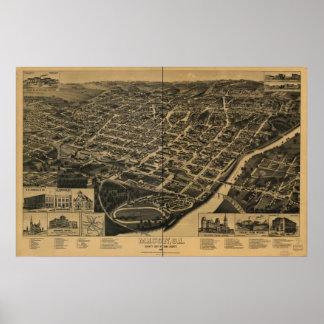 Mapa panorámico antiguo de Macon Georgia 1887 Póster