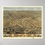 Mapa panorámico antiguo de Macon Missouri 1869 Posters
