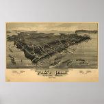 Mapa panorámico antiguo de Maine 1886 de la isla d Impresiones