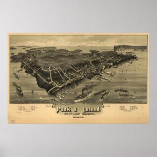 Mapa panorámico antiguo de Maine 1886 de la isla d Póster