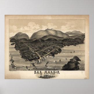 Mapa panorámico antiguo de Maine 1886 del puerto d Póster