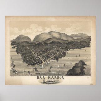 Mapa panorámico antiguo de Maine 1886 del puerto Póster