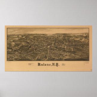 Mapa panorámico antiguo de Malone Nueva York 1886 Póster
