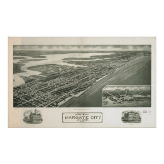 Mapa panorámico antiguo de Margate New Jersey 1925 Posters