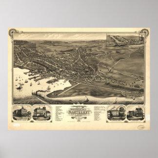 Mapa panorámico antiguo de Massachusetts 1881 de l Póster