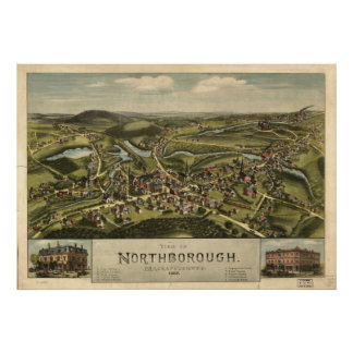 Mapa panorámico antiguo de Massachusetts 1887 de N Póster