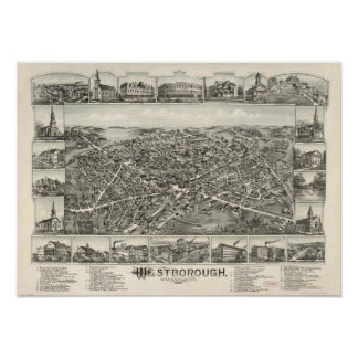 Mapa panorámico antiguo de Massachusetts 1888 de W Póster