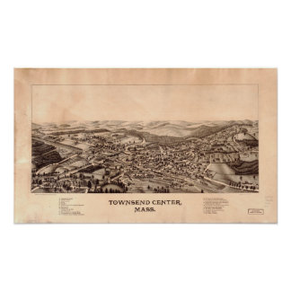 Mapa panorámico antiguo de Massachusetts 1889 de c Posters