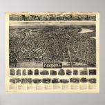 Mapa panorámico antiguo de Massachusetts 1914 de H Poster