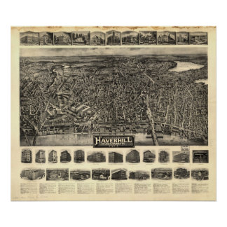 Mapa panorámico antiguo de Massachusetts 1914 de H Póster