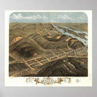 Mapa panorámico antiguo de McGregor Iowa 1869 Póster