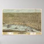 Mapa panorámico antiguo de Memphis Tennessee 1870 Póster
