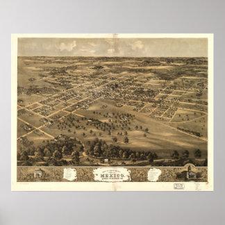 Mapa panorámico antiguo de México Missouri 1869 Póster