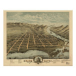 Mapa panorámico antiguo de Michigan 1874 magnífico Poster