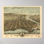 Mapa panorámico antiguo de Michigan 1874 magnífico Impresiones