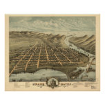 Mapa panorámico antiguo de Michigan 1874 magnífico Póster