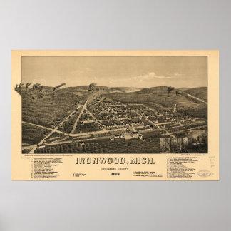 Mapa panorámico antiguo de Michigan 1886 del Ironw Póster