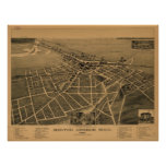 Mapa panorámico antiguo de Michigan 1889 del puert Poster