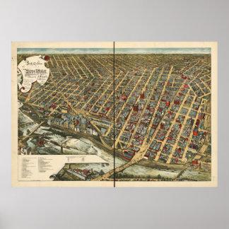 Mapa panorámico antiguo de Minneapolis Minnesota 1 Posters