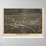 Mapa panorámico antiguo de Minneapolis Minnesota 1 Póster