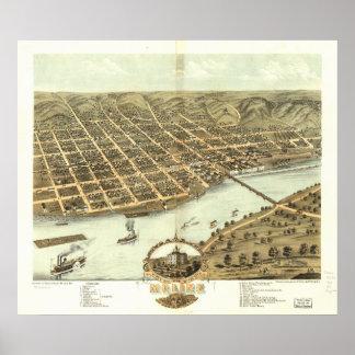 Mapa panorámico antiguo de Moline Illinois 1884 Póster