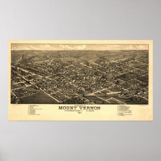 Mapa panorámico antiguo de Mount Vernon Illinois 1 Posters