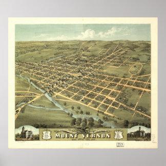 Mapa panorámico antiguo de Mount Vernon Ohio 1870 Póster