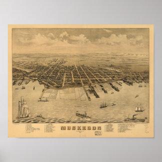 Mapa panorámico antiguo de Muskegon Michigan 1874 Impresiones