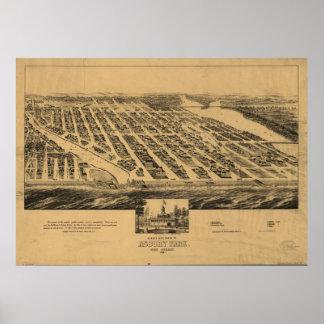Mapa panorámico antiguo de New Jersey 1881 del par Posters