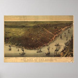Mapa panorámico antiguo de New Orleans Louisana 18 Poster