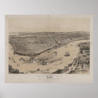 Mapa panorámico antiguo de New Orleans Louisana 18 Póster