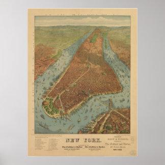 Mapa panorámico antiguo de New York City 1879 Poster