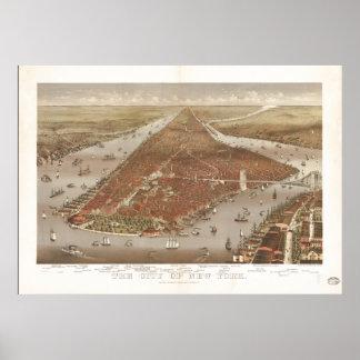 Mapa panorámico antiguo de New York City 1884 Posters