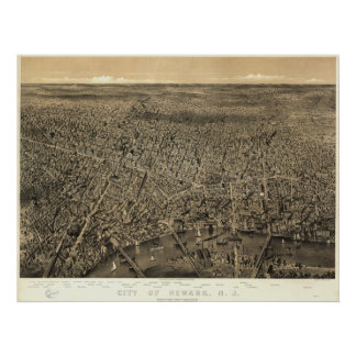 Mapa panorámico antiguo de Newark New Jersey 1874 Posters