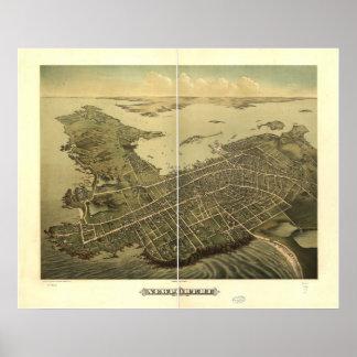 Mapa panorámico antiguo de Newport Rhode Island 18 Posters