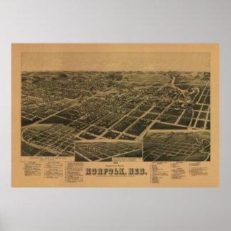 Mapa panorámico antiguo de Norfolk Nebraska 1889 Póster