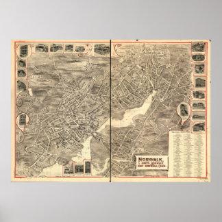Mapa panorámico antiguo de Norwalk Connecticut Póster