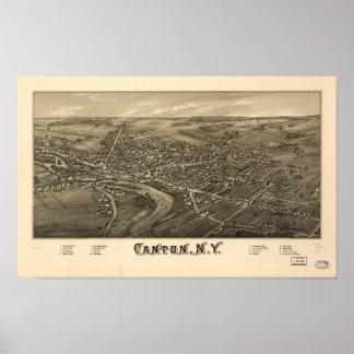 Mapa panorámico antiguo de Nueva York 1885 del Poster