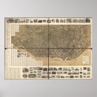 Mapa panorámico antiguo de Nueva York 1902 del búf Poster