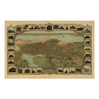 Mapa panorámico antiguo de Oakland California 1900 Póster