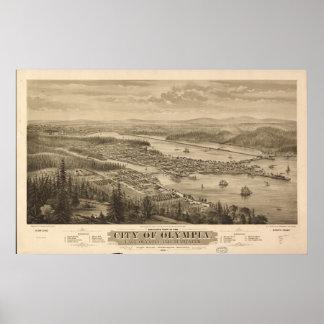 Mapa panorámico antiguo de Olympia Washington 1870 Póster