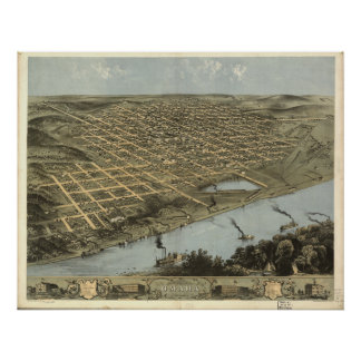 Mapa panorámico antiguo de Omaha Nebraska 1868 Posters