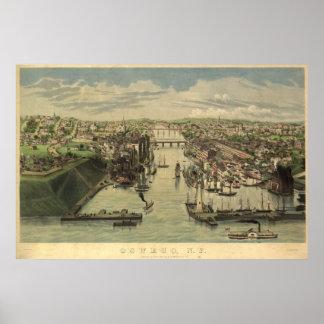 Mapa panorámico antiguo de Oswego Nueva York 1855 Póster