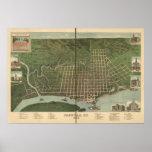 Mapa panorámico antiguo de Paducah Kentucky 1889 Póster