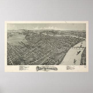 Mapa panorámico antiguo de Parkersburg W. Virginia Póster