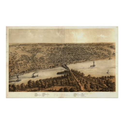Mapa panorámico antiguo de Peoria Illinois 1867 Posters
