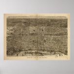 Mapa panorámico antiguo de Philadelphia Penn 1872 Poster