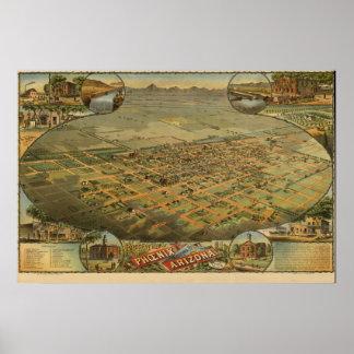 Mapa panorámico antiguo de Phoenix Arizona 1885 Posters