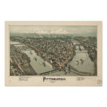 Mapa panorámico antiguo de Pittsburgh Pennsylvania Posters