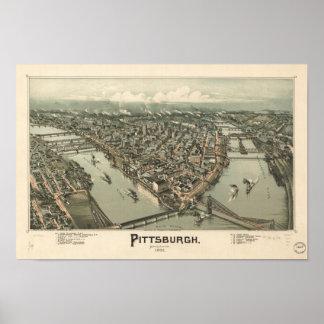 Mapa panorámico antiguo de Pittsburgh Pennsylvania Póster